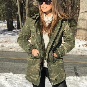 ZARA WOMEN'S OUTERWEAR CAMO HOODED PARKA JACKET